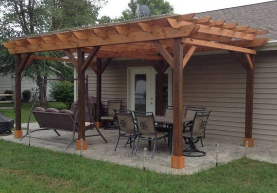 Pergola plans 12x24 outside patio wood design covered deck diy