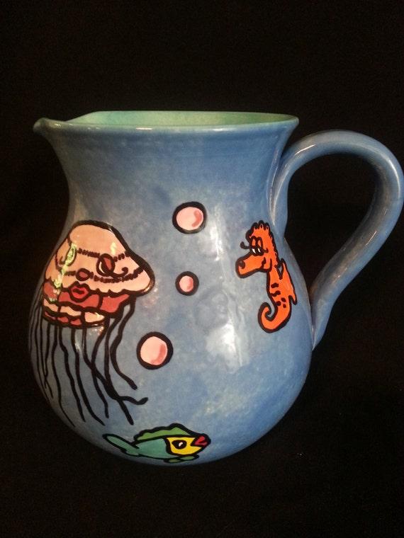 Unique Tropical Fish Ceramic Pitcher