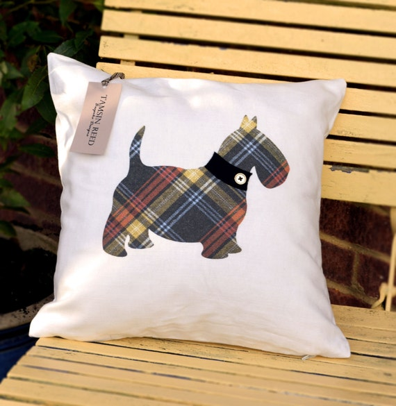 "HALF PRICE! Scottie Dog Cushion - Tartan, Pink Polka, Green Polka, Blue Collage,  ""The Scotties of McDawg"" Collection, Tamsin Reed Designs"