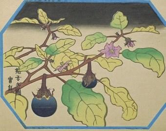 "Ukiyoe, Original Sōsaku-hanga, Woodblock print, antique, Tokuriki Tomikichiro, ""Solanum melongena"""