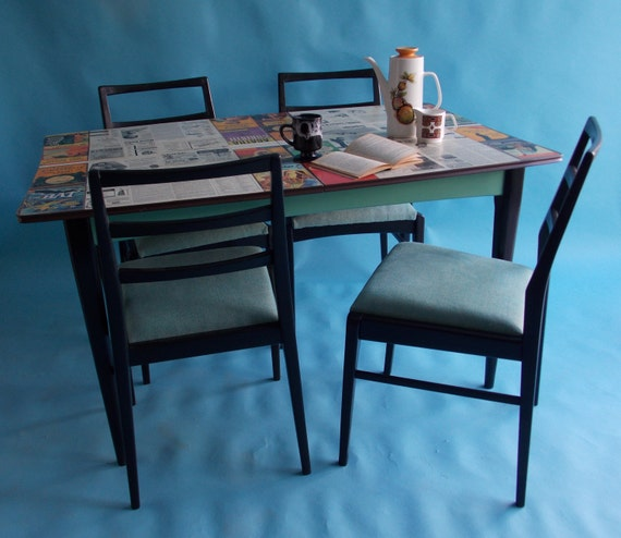 Stunning UPCYCLED 1960s Modernist Dining TABLE amp 4 CHAIRS with : il570xN740375317e5vi from www.etsy.com size 570 x 494 jpeg 53kB
