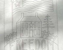 Hand Drawn Rug Hooking Pattern: FREEDOM HOUSE 21x21
