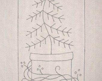 Hand-drawn Rug Hooking Pattern: CHRISTMAS TREE & CROCK 11x25