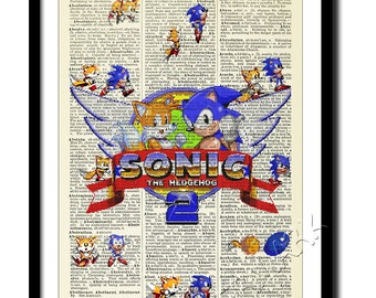 Sonic the hedgehog poster , Dictionary Art , Print , Poster , Antique Book art. Sonic tails sega megadrive.