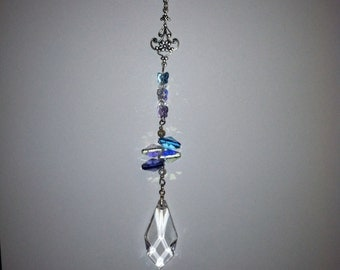Swarovski crystal, multi color, handmade, garden sun catcher