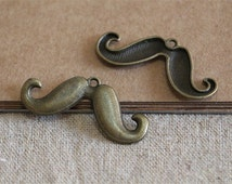 10pcs antique bronze mustache pendant charms,commercial findings charm,jewelry making supplies,18*43mm