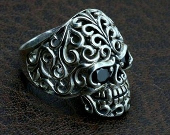 "Biker skull ring ""filigree"""