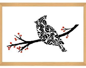 bird cross stitch pattern, ornamental, silhouette pattern, bird on branch, bird pattern, abstract, bird, black and red, modern cross stitch