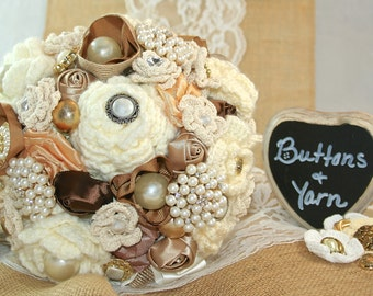 Buttons and Yarn Bouquet