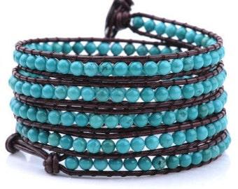 Turquoise Stone Leather Wrap Bracelet