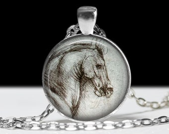 Horse Necklace Da Vinci Jewelry Necklace Wearable Art Pendant Charm Da Vinci Horse Jewelry Pendant Charm