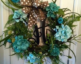 Turquoise Hydrangea - Spring/Summer Wreath - Round Grapevine Wreath - Single Monogram - Feathers - Greenery - Door Hanger - Outdoor Wreath