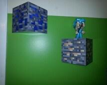 Floating Minecraft 3d block shelf
