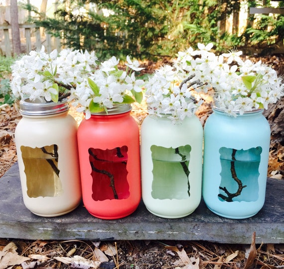 mason jar decor ball jar vase painted jar by southerncharms85
