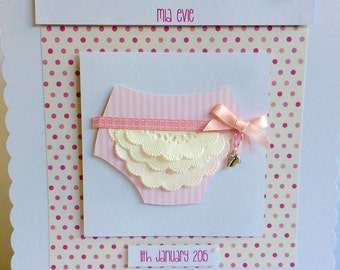 Handmade Large Frilly Nappy New Baby Card Girl