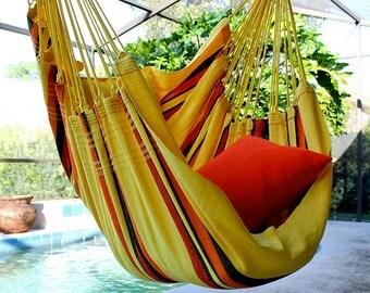 Happy Sunshine - Fine Cotton Hammock Chair, Made in Brazil