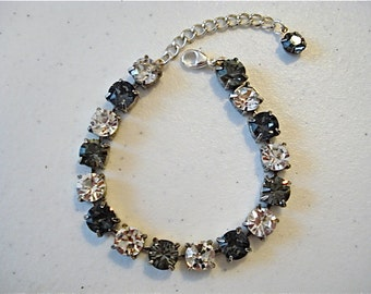 Swarovski Crystal Smoky Silver Tennis Bracelet, 8mm tennis bracelet, crystal bracelet, bridesmaid bracelet, tennis bracelet, black crystal