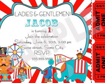 Circus carnival birthday invitation- Printable