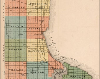 24x36 Poster; Map Of Bay County Michigan Bay City 1916