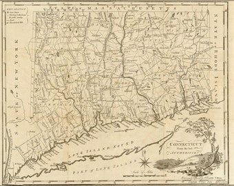 24x36 Poster; Map Of Connecticut 1795 P2