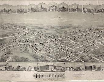 24x36 Poster; Map Of Holbrook, Massachusetts, 1892