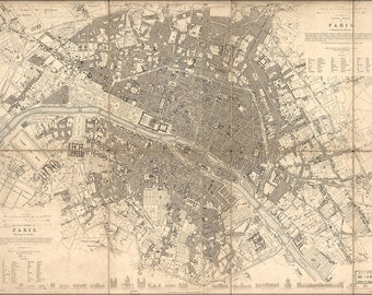 24x36 Poster; Map Of Paris 1834 (Resize Attempted)