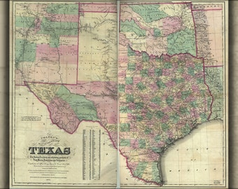 24x36 Poster; Map Of Texas & Indian Territory Oklahoma 1872