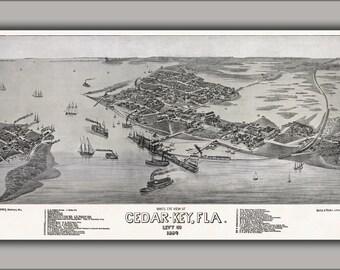 24x36 Poster; Bird'S Eye View Of Cedar Key, Florida C1884