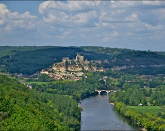 24x36 Poster; Castle And Village Of Beynac, The Dordogne River, Seen From Castle Of Castelnaud, Dordogne, France