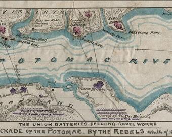 24x36 Poster; Map Of Blockade Of Potomac River 1861