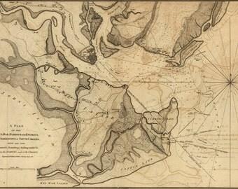 24x36 Poster; Map Of Charleston, South Carolina, 1780 (Check Other)