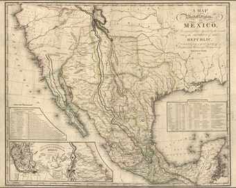 24x36 Poster; Map Of Mexico 1826