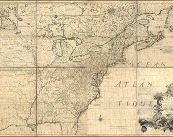 24x36 Poster; Map Of North America & United States  1792
