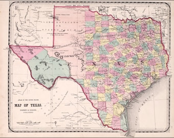 24x36 Poster; Map Of Texas 1870