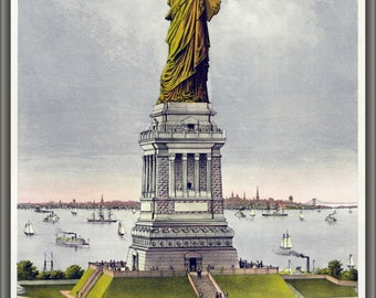 24x36 Poster; Statue Of Liberty By Currier And Ives