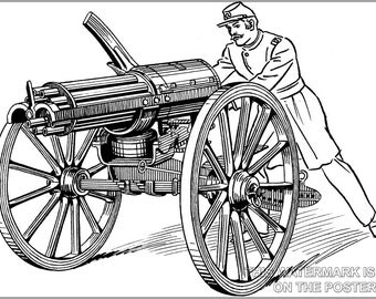 24x36 Poster; Gatling Gun Illustration Civil War
