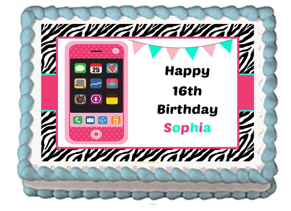 Edible Cake Images Iphone : IPHONE THEME Edible Birthday Party Cake Cupcake Toppers Choose