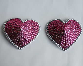 Silver and Pink Heart Shaped Pasties