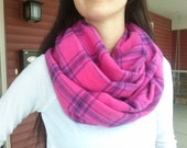 Pink Plaid Flannel Infinity Scarf