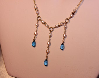 London Blue Topaz Necklace, hand made