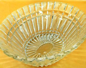 "Cut crystal bowl 5"" tall, 11"" x 8 1/2"" base - (1411-65)"