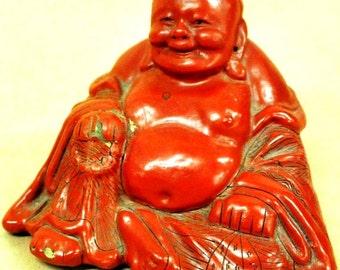 "Chinese cinnabar Budha 2 1/2"" x 3"""