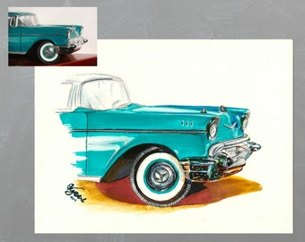 Custom Personalized Car Drawing - 8.5x11 - made to order from your picture car portrait - original sports car commission art