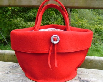 Felt Handbag Red Felt Purse Bag