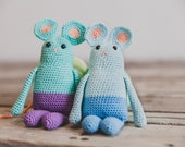 Little crocheted amigurumi mouse, crochet mouse toy