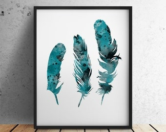 Teal Feathers Art Print Turquoise Home Decor Blue Feather Watercolor Painting