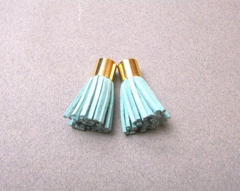 Mini Tassels, Suede Tassel with Gold End Cap , Mint Green , 2 pcs