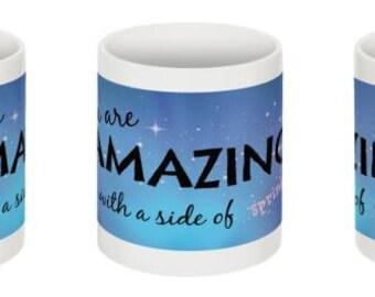 You Are Amazing, positivity MUG, gift under 20, sprinkles, thank you, Christmas gift, girlfriends, sisters, teachers, mom, self-esteem