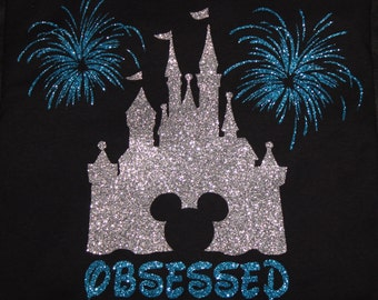 """Disney's Mickey """"Obsessed"""" Castle with fireworks (glitter) T-shirt"""