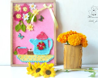 Crochet pattern, crochet wall art pattern, teatime wall decor, pattern no. 11